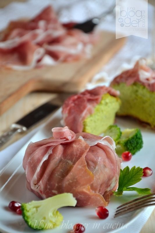 Flan di broccoli in fagottino di crudo di Parma
