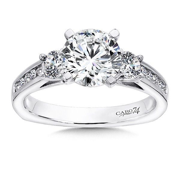 3 Stone Engagement Ring In White Gold With Platinum Head Tw Three Channel Set Diamond Side Stones