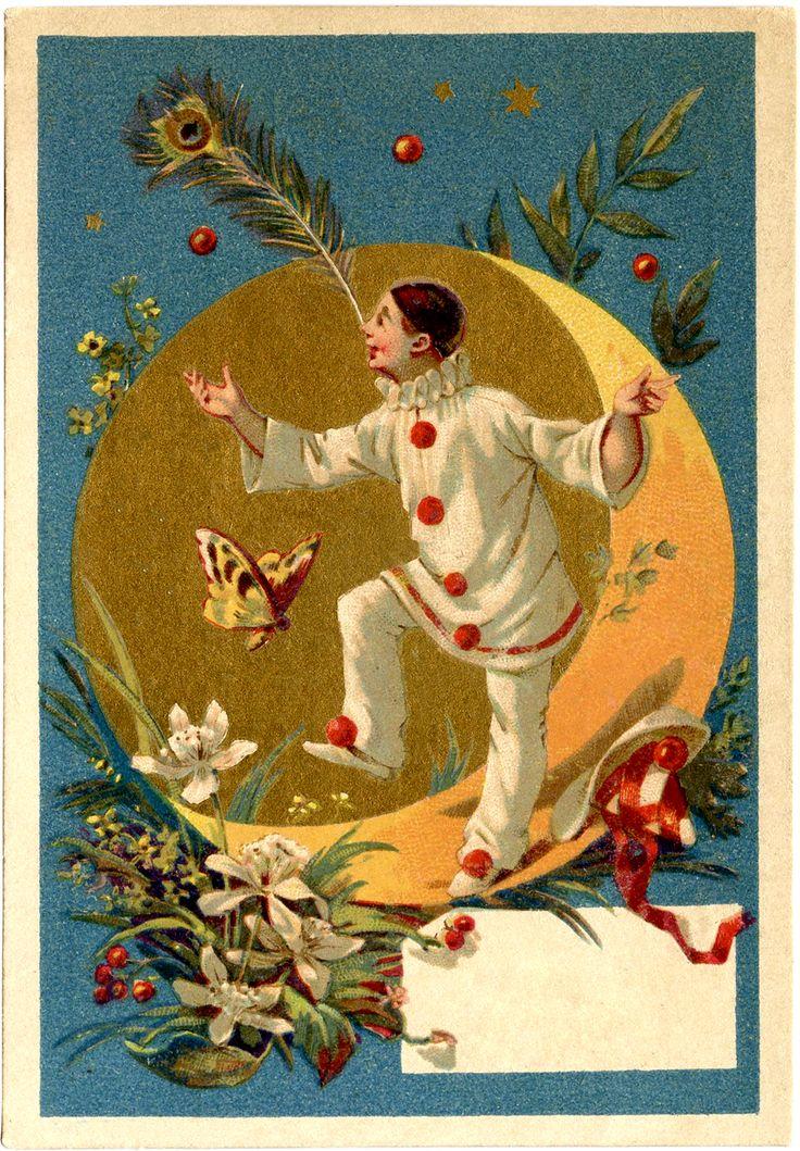 Vintage Pierrot Clown Image - The Graphics Fairy