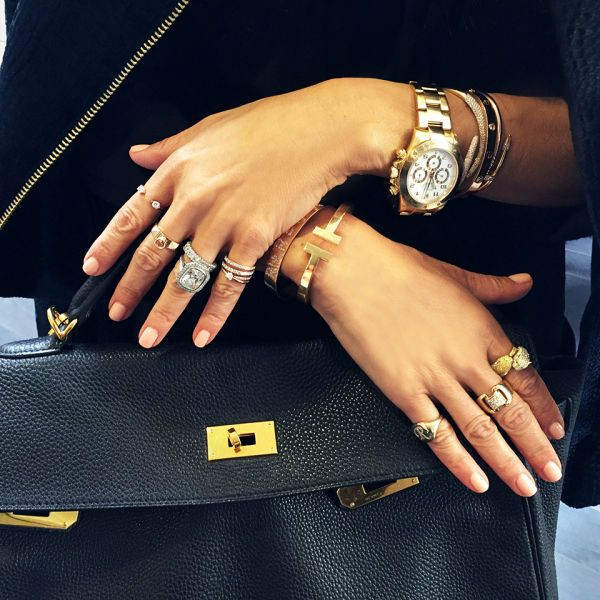 My simple formula for every boss's daily uniform: don't be afraid to mix metals, stack rings, layer bracelets and be a maximalist. When in doubt, do what RZ does and pile it on.