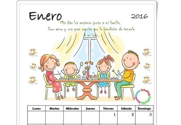 Calendario 2016 para Imprimir - Hermosos Motivos Infantiles | Planeaciones Gratis