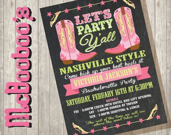 Cowgirl Western Bachelorette Party Invitations on a by McBooboos