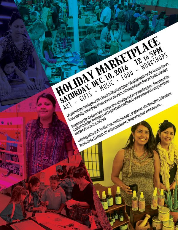 Los Angeles, CA ~ Self Help Graphics & Art's Annual Holiday Marketplace includes work for sale by local vendors and series of printmaking demos & workshops from some of the Eastside's favorites artists.