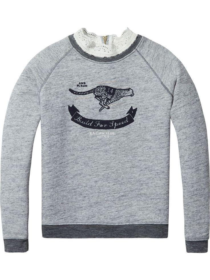 Sweater met kanten kraag