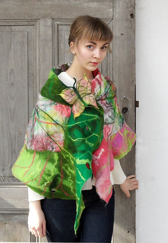 Hand felted scarf like leaf in green and pink colors. This silk and wool shawl give you a very interesting clothing possibility. It may be a collar