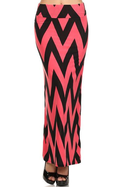 Assa Coral and Black Chevron Maxi Skirt Made in USA, Polyester blend Size Small #Assa #Maxi