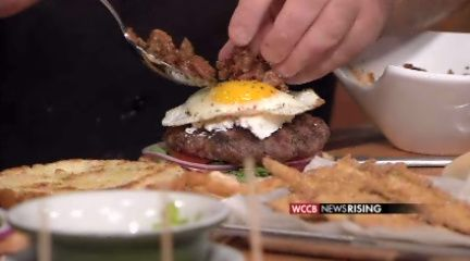 farmhouse burger with fried okra, fried egg, bacon marmalade, chiptole ...