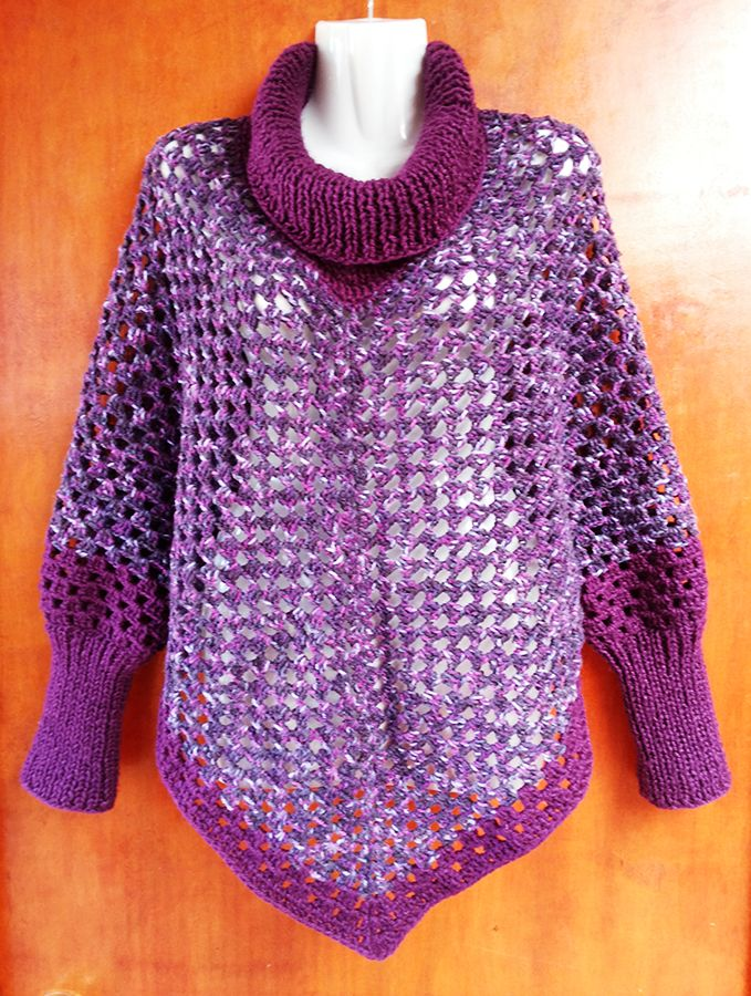 Poncho a Crochet y Palillos  #knit #poncho #knitted by Suhyza