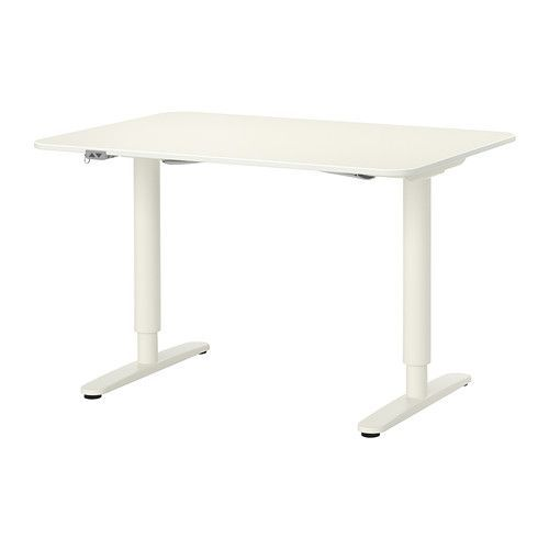 """IKEA - BEKANT, Desk sit/stand, white, , 10-year Limited Warranty. Read about the terms in the Limited Warranty brochure.You can adjust the height of the table top electrically from 22"""" to 48"""" to ensure an ergonomic working position.Changing positions between sitting and standing helps you both feel and work better.It's easy to keep your desk neat and tidy with the cable management net under the table top.The melamine surface is durable, stain resistant and easy to keep..."""