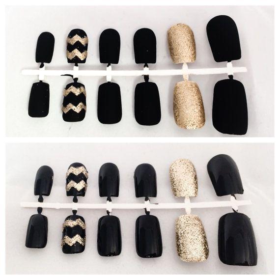 Black Fake Nail Set Gold False Fingernails by LetThemSparkle