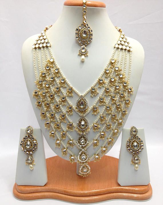 dea9ca4e9b4d7 Handmade Indian Jewelry Rani Haar Necklace Set With Pearl imitation ...