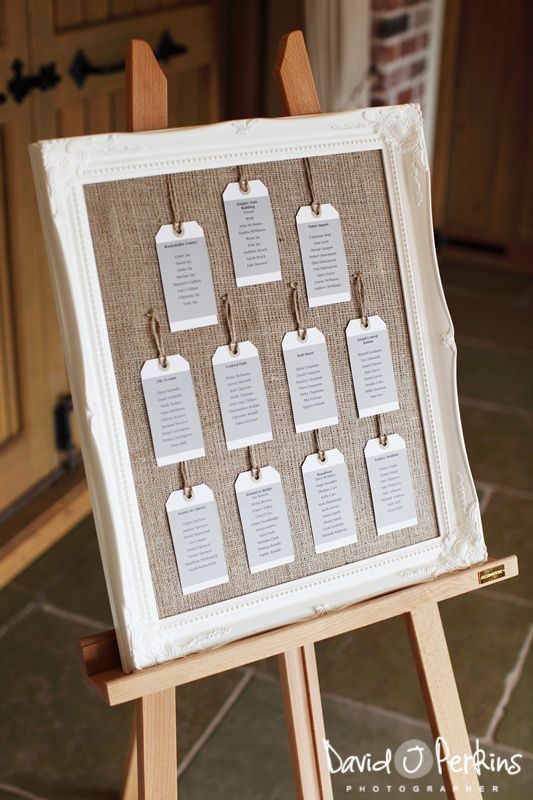 table plan idea - Buy a frame, take out the glass and add hessian and voila!