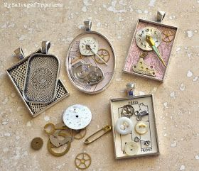 Repurposed jewelry creations with Ice Resin, brass stencils, watch parts, and silverware.