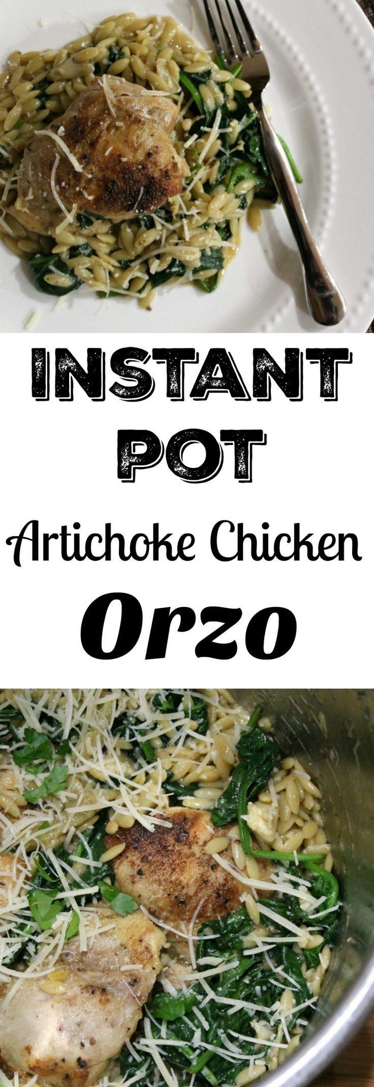 Instant Pot Artichoke Chicken Orzo Dinner - One Pot Recipe