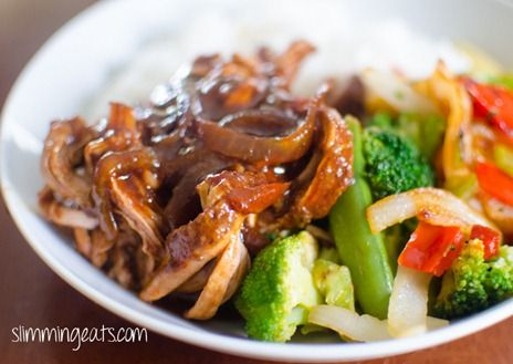 Chinese pork tenderloin cooked in the slow cooker. Slimming world friendly recipe.