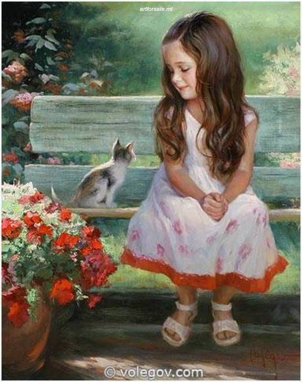 GIRL AND KITTY [VLADIMIR VOLEGOV_A2483] - $99.00 new painting for sale |artforsale.ml