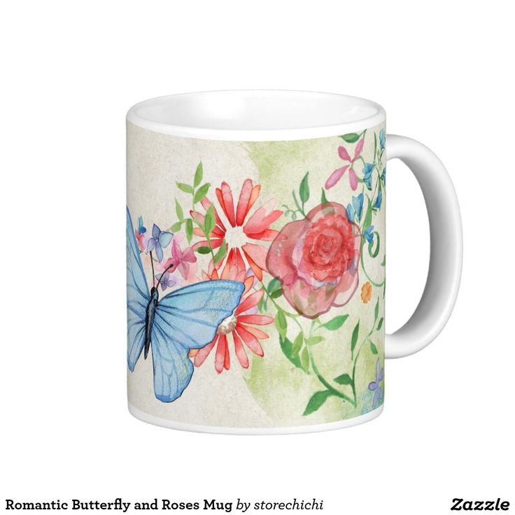 Romantic Butterfly and Roses Mug