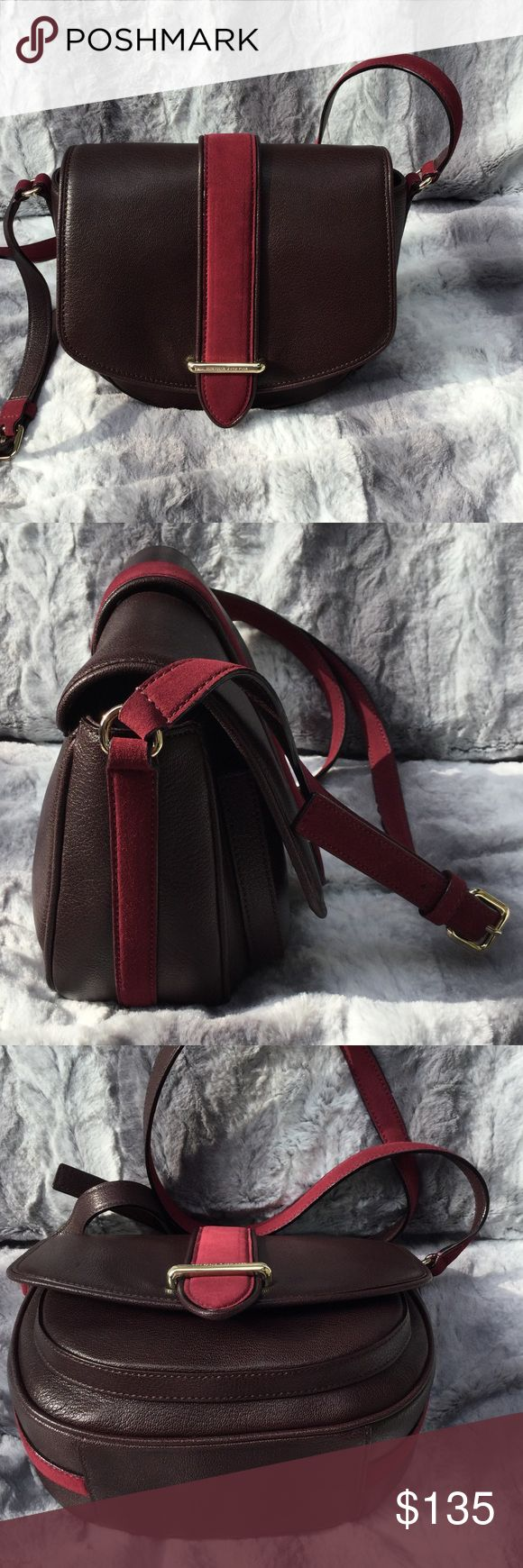 "Kate Spade Large Crosbody Belted Bar Marsi ( Saddle Bag). Leather/ Suede, beautiful Mulled Wine Color, Perfect for Fall.  10"" x 8"" x 4.1"".  Interior zip pocket, very roomy for a Crosbody. New and Unused form a KS Sample sale. kate spade Bags Crossbody Bags"