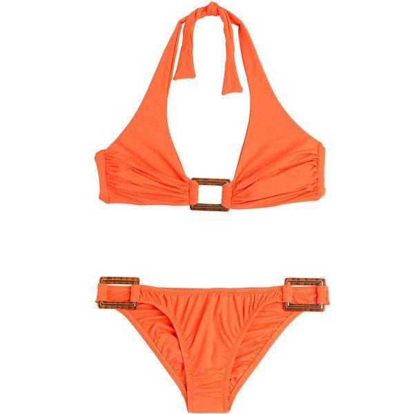 Melissa Odabash Paris Triangle Bikini ($230) ❤ liked on Polyvore featuring swimwear, bikinis, orange, cutout bikini bottom, triangle swimwear, orange bikini, bikini bottom swimwear and bikini two piece