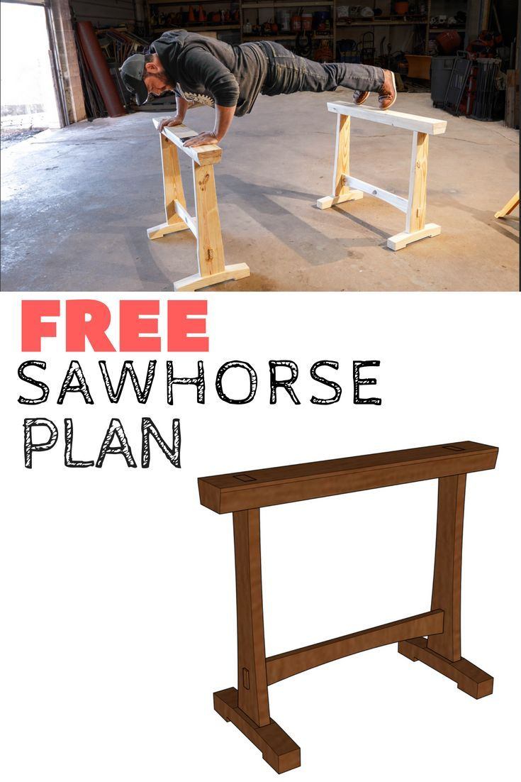 DIY Woodworking Ideas DOWNLOAD A free to make these rugged and sturdy sawhorses! #woodworking #diy #Fu...