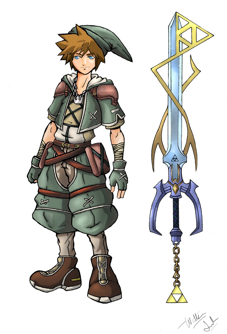 Zelda - Kingdom Hearts crossover art. I may have not played the Ledgend of Zelda games but this would be awesome!