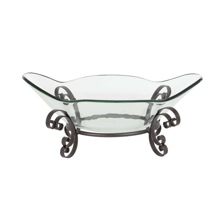 Large Glass Bowl With Stand Centerpiece Bowl, Black
