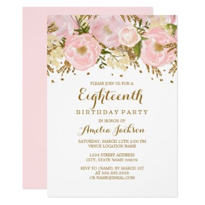 pretty blush pink gold floral 18th birthday invitation in 2018