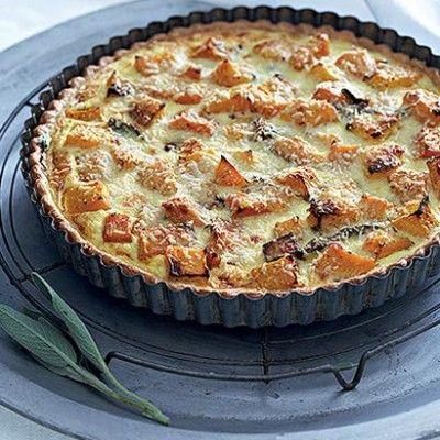 Roast butternut quiche