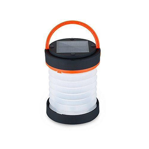 Camping Solar Lantern LED Light - Collapsible Portable Outdoor Small Rechargeable Waterproof Tent Inflatable Lamp For Hiking Fishing Emergencies Hurricane Outages  UNIQUE AND PORTABLE DESIGN: This camping solar lights can be inflatable, collapsible, lightweight (weighs only 4.4 ounces), fully waterproof & submersible.  ECO-FRIENDLY SOLAR POWERED LANTERN: Built-in battery only require sunshine for charging, enough power for lighting up to 12 hours with fully charged.  MULTIFUNCTIONAL SO...