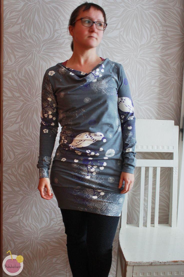 waterfall neckline dress from Käpynen organic cotton jersey, design by Jenni Mäensivu
