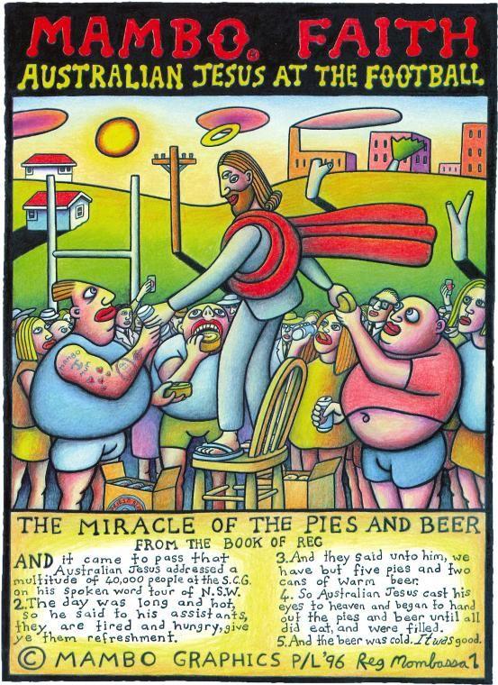 Mambo | NGV. Reg Mombassa. Mambo Faith. Australian Jesus at the football.