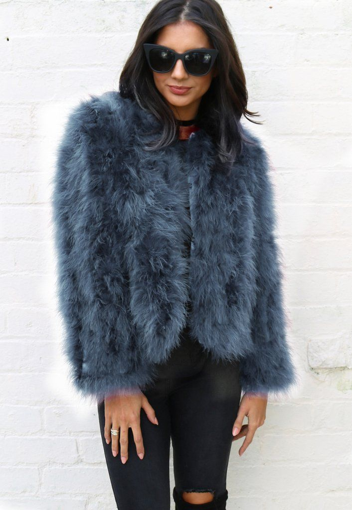 079b4024a14 Fluffy Ostrich Feather Marabou Fur Jacket in Dusty Peacock Blue - One  Nation Clothing