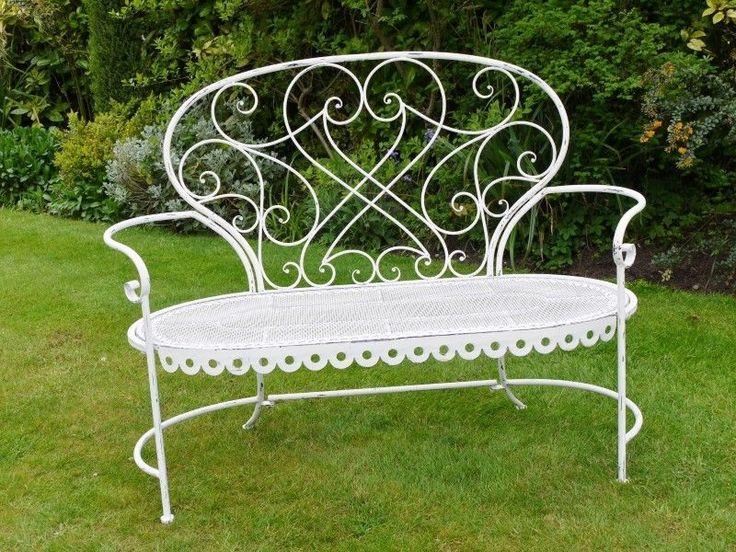 white wrought iron garden furniture. delightful shabby chic vintage style white metal wrought iron garden bench seat furniture i