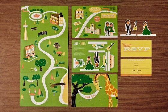 "This wedding invitation features cut out characters that can interact with the invitation itself. According to the designer, ""Alex & Alica w..."