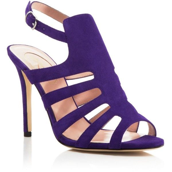 Sjp by Sarah Jessica Parker Zofia Suede Caged High Heel Sandals (7 850 UAH) ❤ liked on Polyvore featuring shoes, sandals, purple, heeled sandals, sjp shoes, caged shoes, purple suede sandals и suede shoes