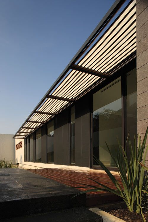 CG House in Mexico by GLR Arquitectos - another pergola type overhang, sleek looking