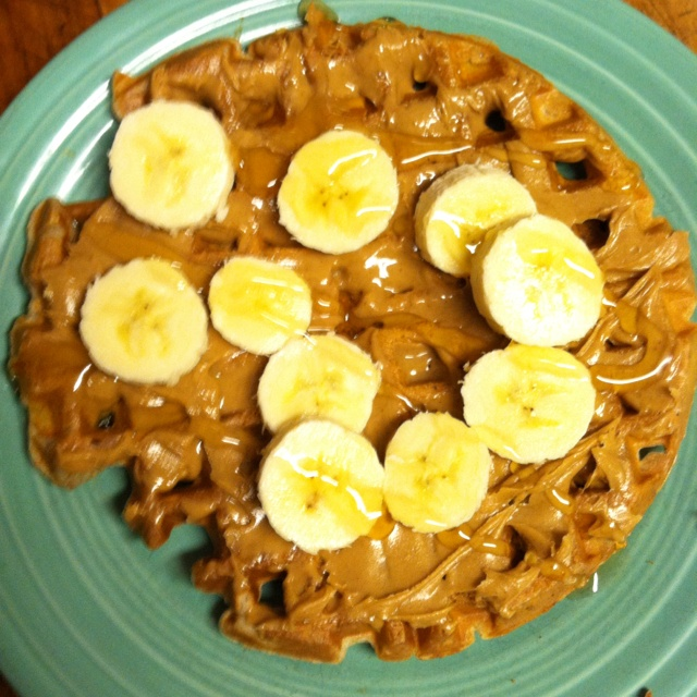 Whole wheat waffles peanut butter and bananas! Nom Nom Nom