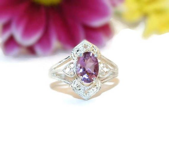 Natural Stone Ring Purple Stone Ring Low Profile Ring