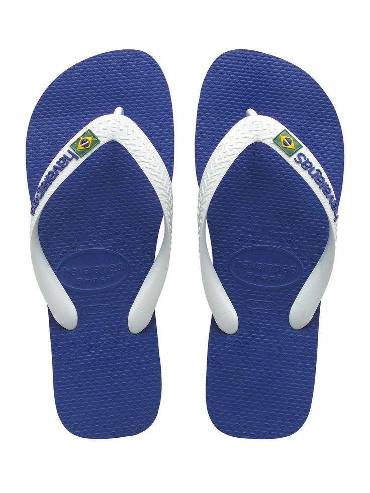 MENS Havaianas Blue/White Brasil Logo Flipflops | Accent Clothing