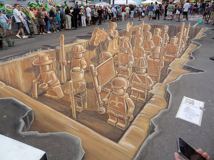 LEGO Terracotta Army 3D Chalk Art