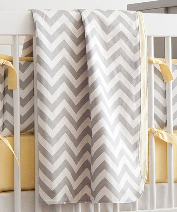 Look at this Carousel Designs 34'' x 43'' Gray & Yellow Chevron Blanket on #zulily today!