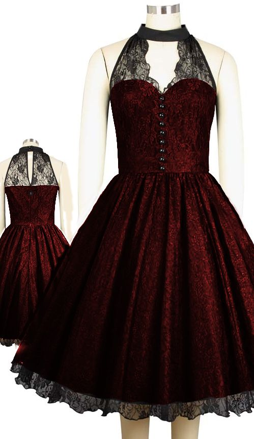 Retro High Collar Sleeveless Lace Dress by Amber Middaugh