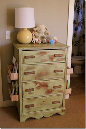 DIY Bookshelf Dresser or nightstand! Great way to keep your evening reading out of the way but handy!