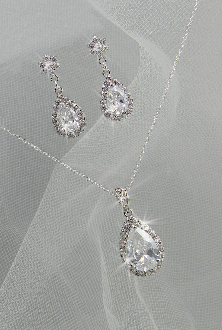 Crystal Bridal Earrings Crystal Wedding Earrings, Crystal Pendant, Bridesmaids  Jewelry, Ariel Bridal