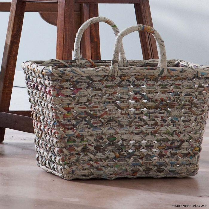сумки из газетных трубочек. плетение из газет (6) (700x700, 401Kb)