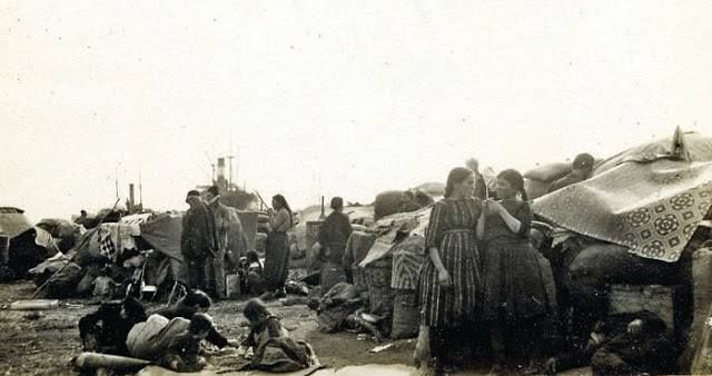 Refugees from Rodesto await ships at the port, October 1922.