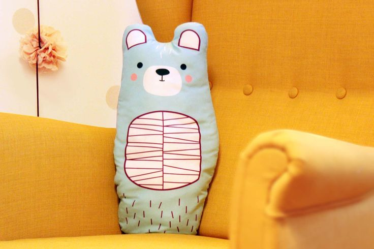 BEAR big, soft stuffed cushion  #cushion #pillow #toy #baby #kidsroom #bear #illustration #design  #cute #animal #design #nursery