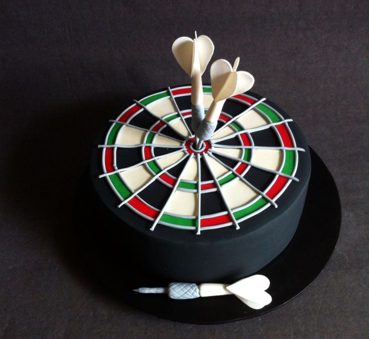 Dart Board cake with handmade fondant darts and dart board - Cakes by Lou