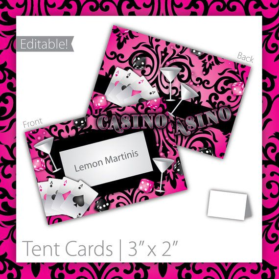 Casino Party Tent Cards : Blank .  PRINTABLE . Casino Crush . INSTANT DOWNLOAD ~ $6.00 ~ casino tent cards, printable casino tent cards, printable tent cards, casino tent sign, casino party sign, casino party signage, casino theme, girl casino, casino food labels, pink casino, casino name sign, casino name tent cards, modern casino tent cards ~ #PinkCasino #CasinoPartyTentCards #CasinoNight https://www.etsy.com/listing/96532934