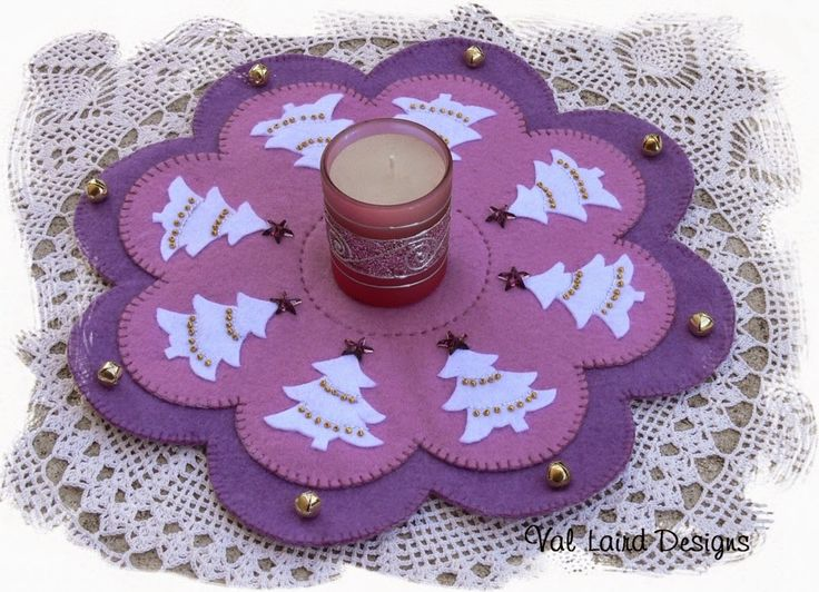 """This gorgeous candle mat might just inspire you to try some different colours this Christmas. """"Gathered Round the Christmas Tree"""". Val Laird Designs"""